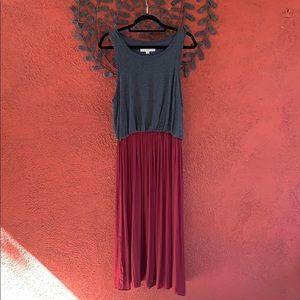 LOFT sleeveless grey red dress